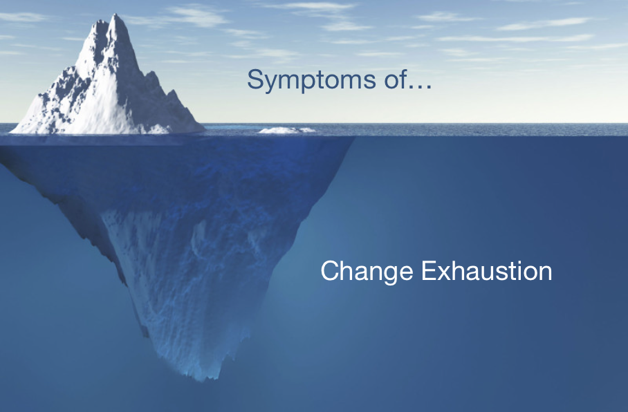 Symptoms of change exhaustion; what's on the surface is just the tip of the iceberg